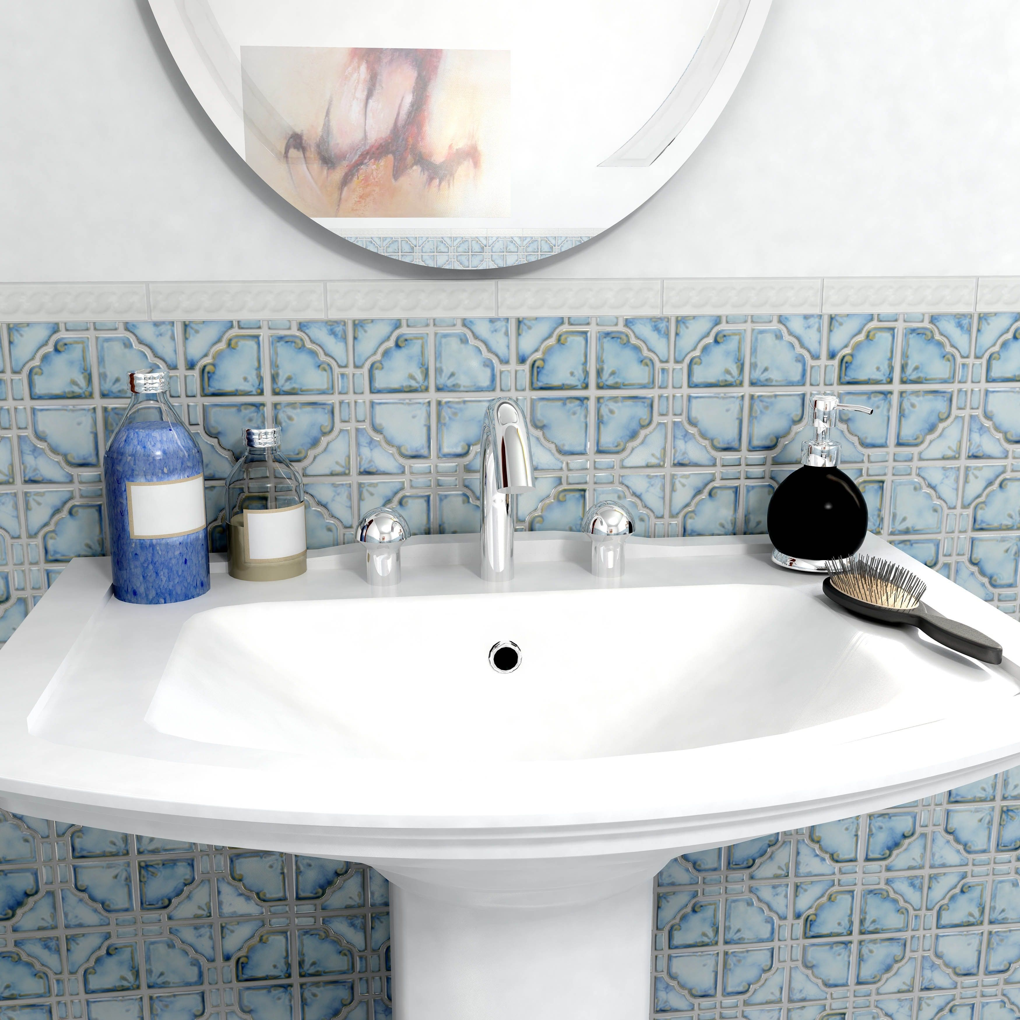 SomerTile 11.75x11.75-inch Luna Diva Porcelain Mosaic Floor and Wall ...