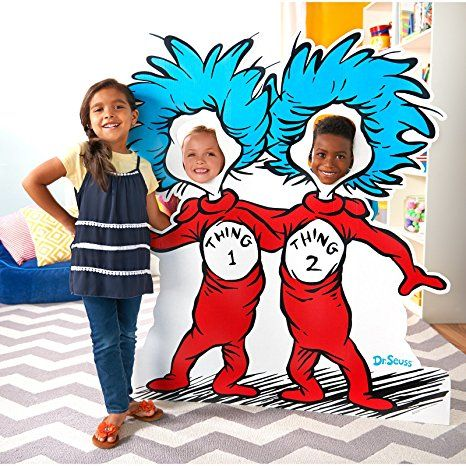 Amazon Com Dr Seuss Cat In The Hat Room Decor Thing 1 And Thing 2 Stand In Photo Prop Health A Seuss Party Dr Seuss Party Supplies Dr Seuss Birthday Party