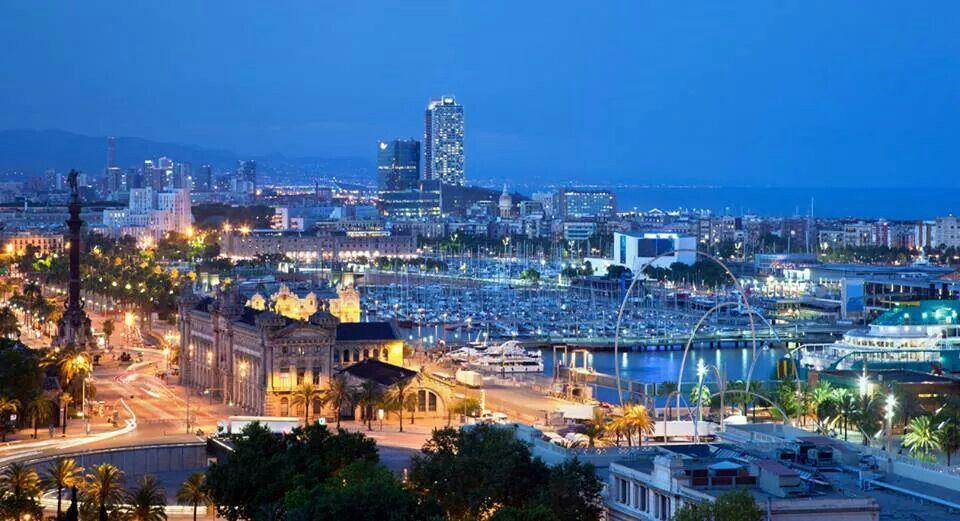 Port de Barcelona a la nit.