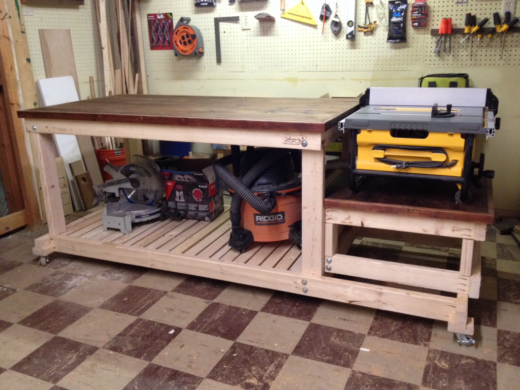 "i built a sturdy ""mobile"" workbench for my tiny workshop a couple"