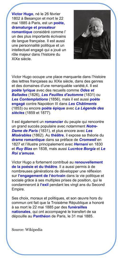 Victor Hugo 1802 1885 Frensh Poète Victor Hugo Poeme