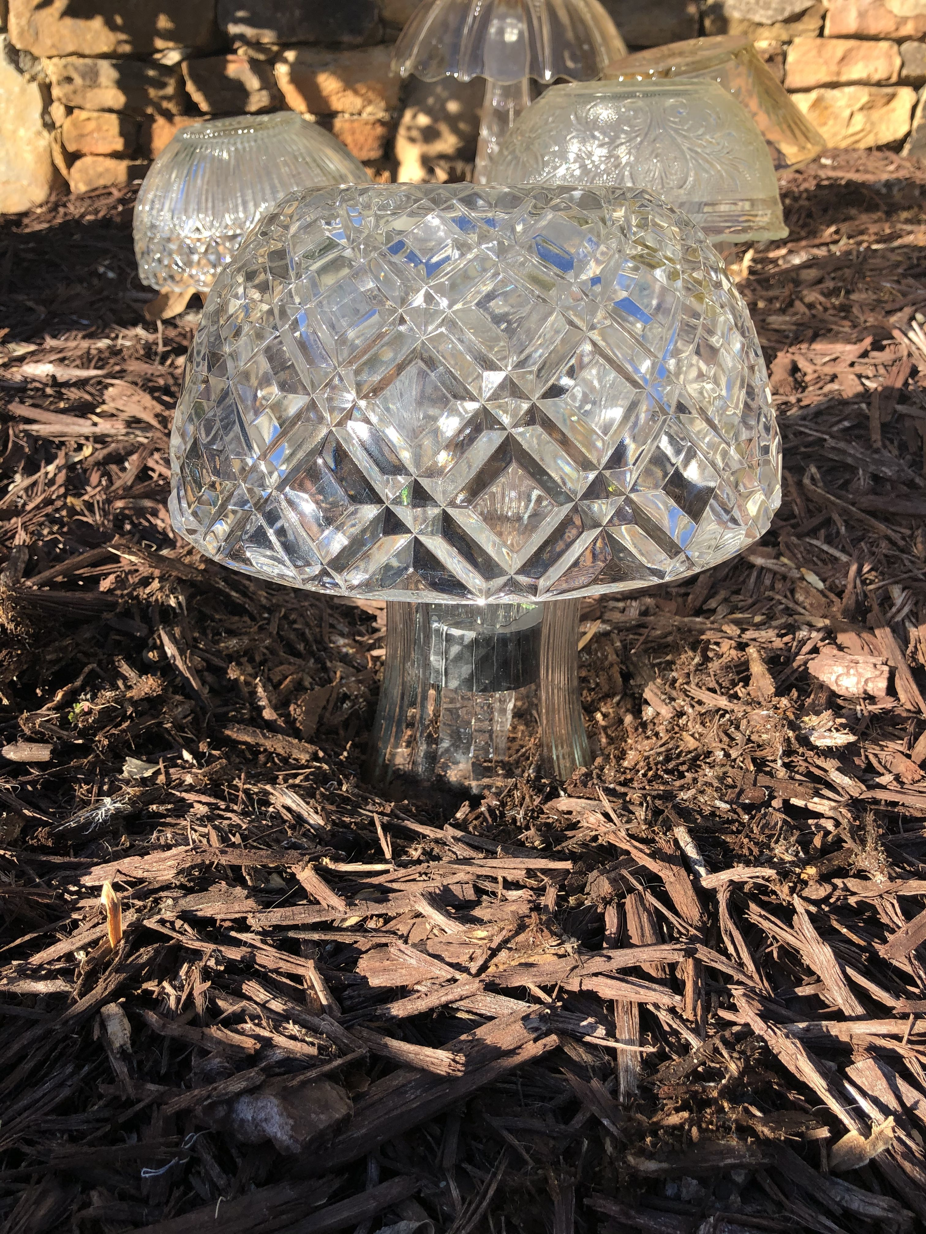 Diy Glass Solar Mushroom The Shabby Tree Try If For Under 5 In 2020 Diy Glass Diy Candle Decor Mushroom Lights