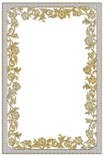 Для текста Красивая рамка серо-голубая с золотыми цветами ...