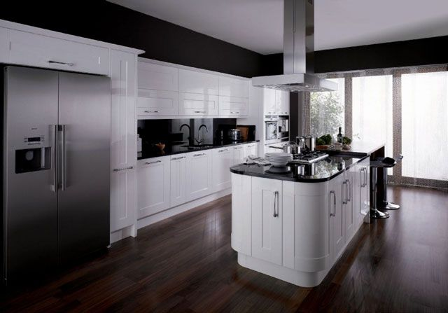 Contemporary White Shaker Kitchen white gloss shaker style kitchen units in a modern setting with