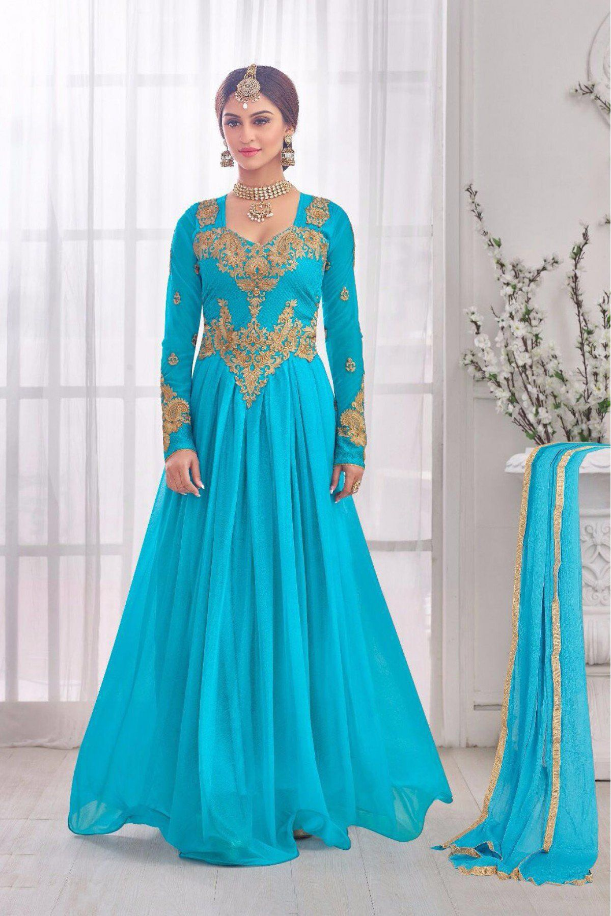 Korean Lycra Semi Stitched Party Wear Gown In Sky Blue Colour   Blue ...