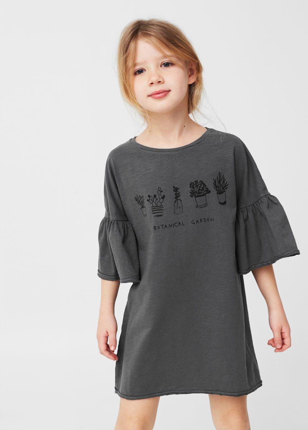 Flared sleeves cotton dress - Girls  2d002b47c8