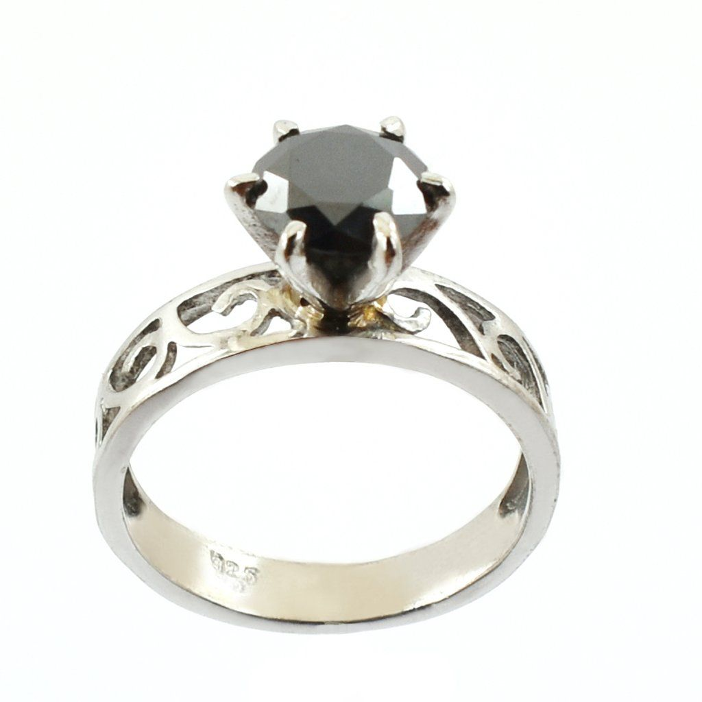 Round Brilliant Cut Black Diamond Solitaire Ring In 925 silver Women/'s Jewelry 2.50 Ct Certified Great Prong Settings