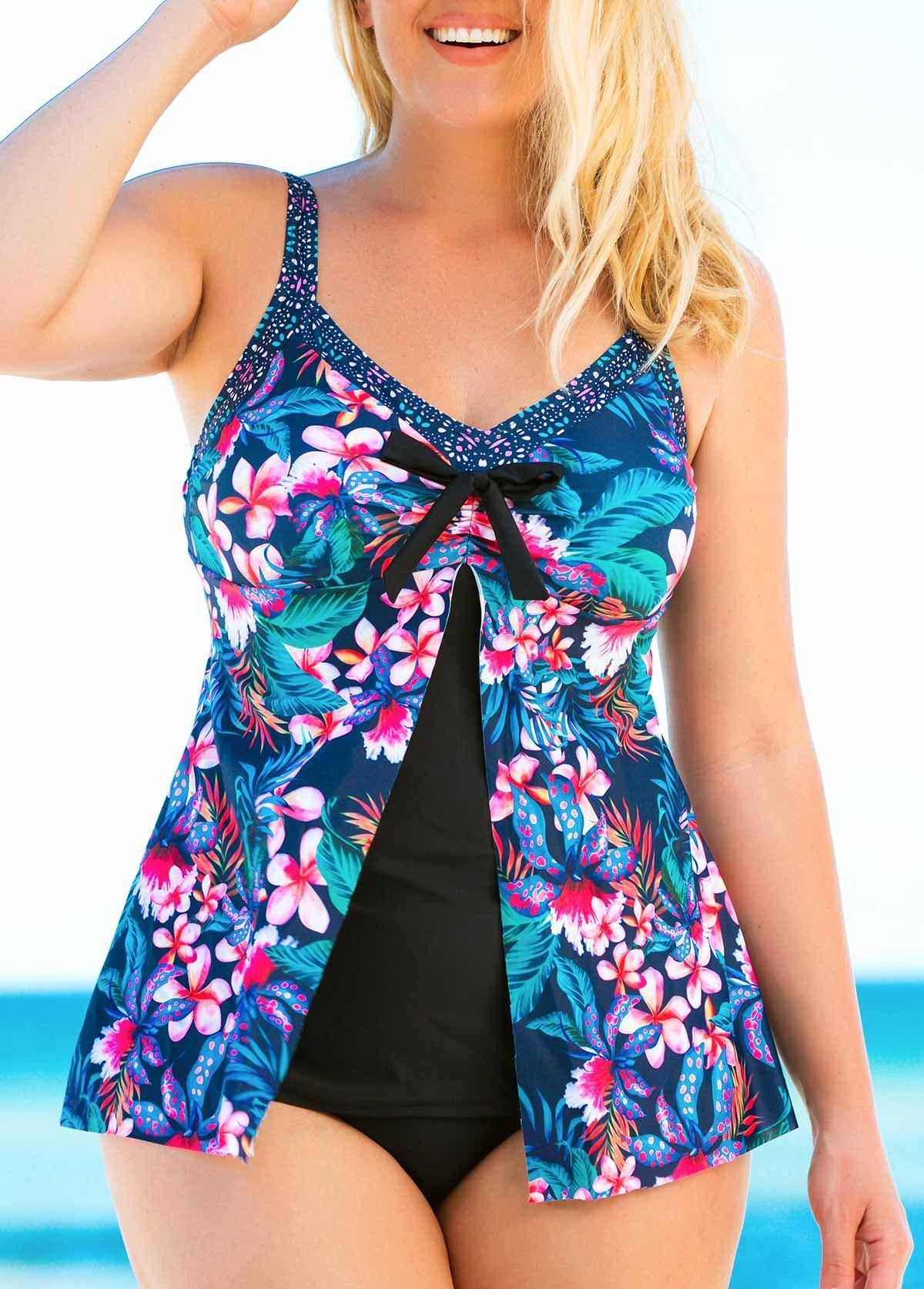 8f4f607a898 Plus Size Flyaway Front Printed Spaghetti Strap Tankini Set   liligal.com -  USD $28.11 #liligal #plussize #swimwear