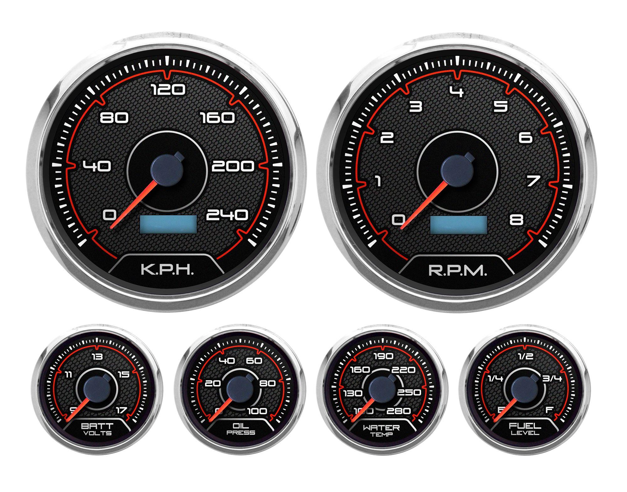 CFR 6 gauge kit 240 KPH new pro-touring gauges | NVU gauges | Gauges