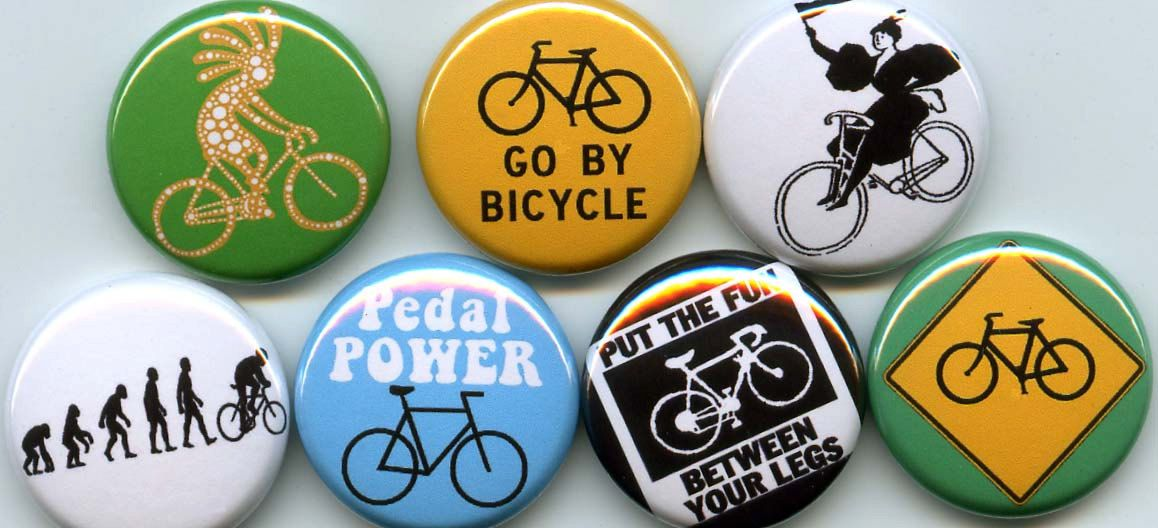 BICYCLING 7 pins/buttons by orangedracula on Etsy, $6.95