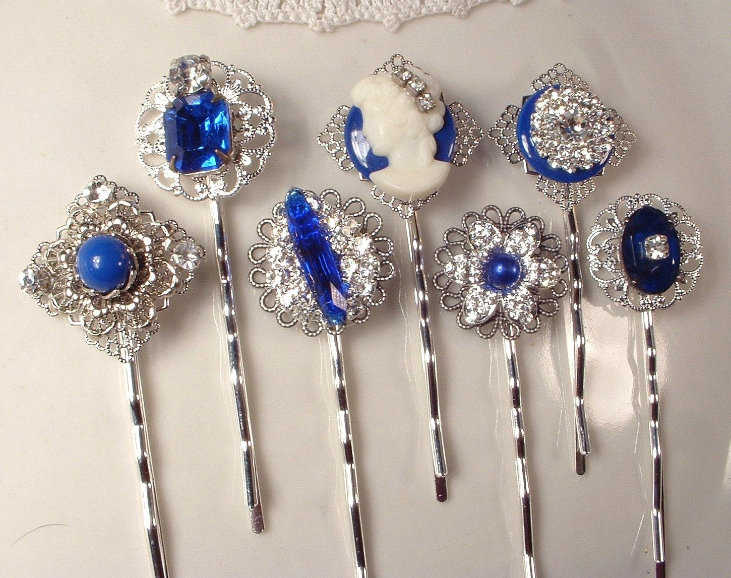 Long Bobby Pin Rhinestone Crystal Hair Clip Hairpin Jeweled Simple Elegant Blue