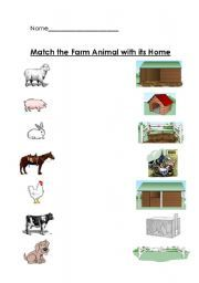 english worksheet farm animals and their home matching worksheet butterfly animals their. Black Bedroom Furniture Sets. Home Design Ideas