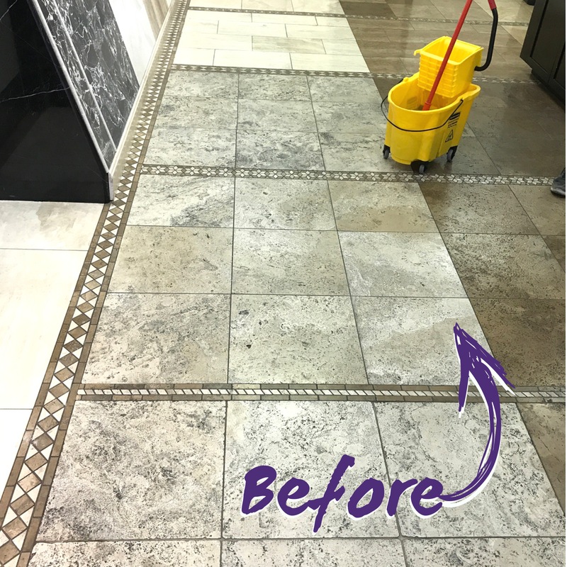 Travertine Tile Floor A Before Photo Of Cleaning Job At Durgano Stone In Scottsdale