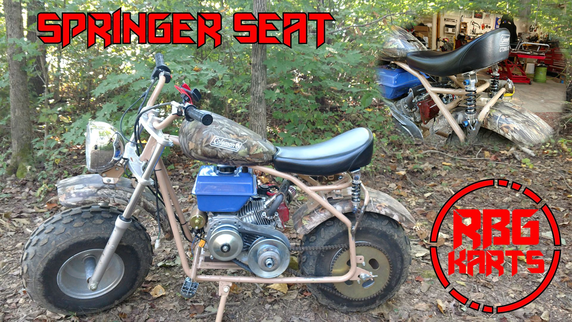 Red Beard's Garage puts a springer seat on the Coleman ct200u-ex mini bike.  You can watch the tutorial on YouTube.