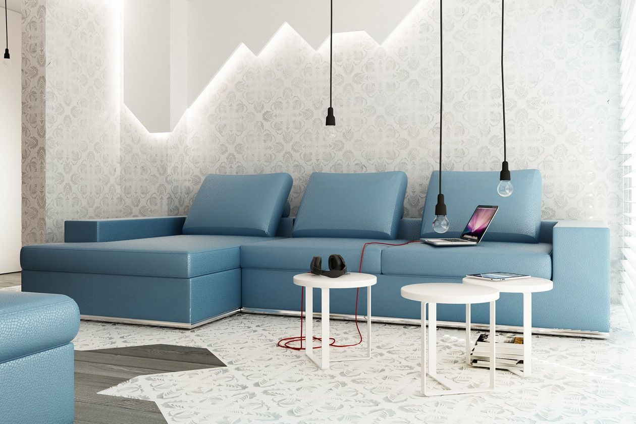 Small Livingroooms Blue Blue L Shaped Sofa Exposed