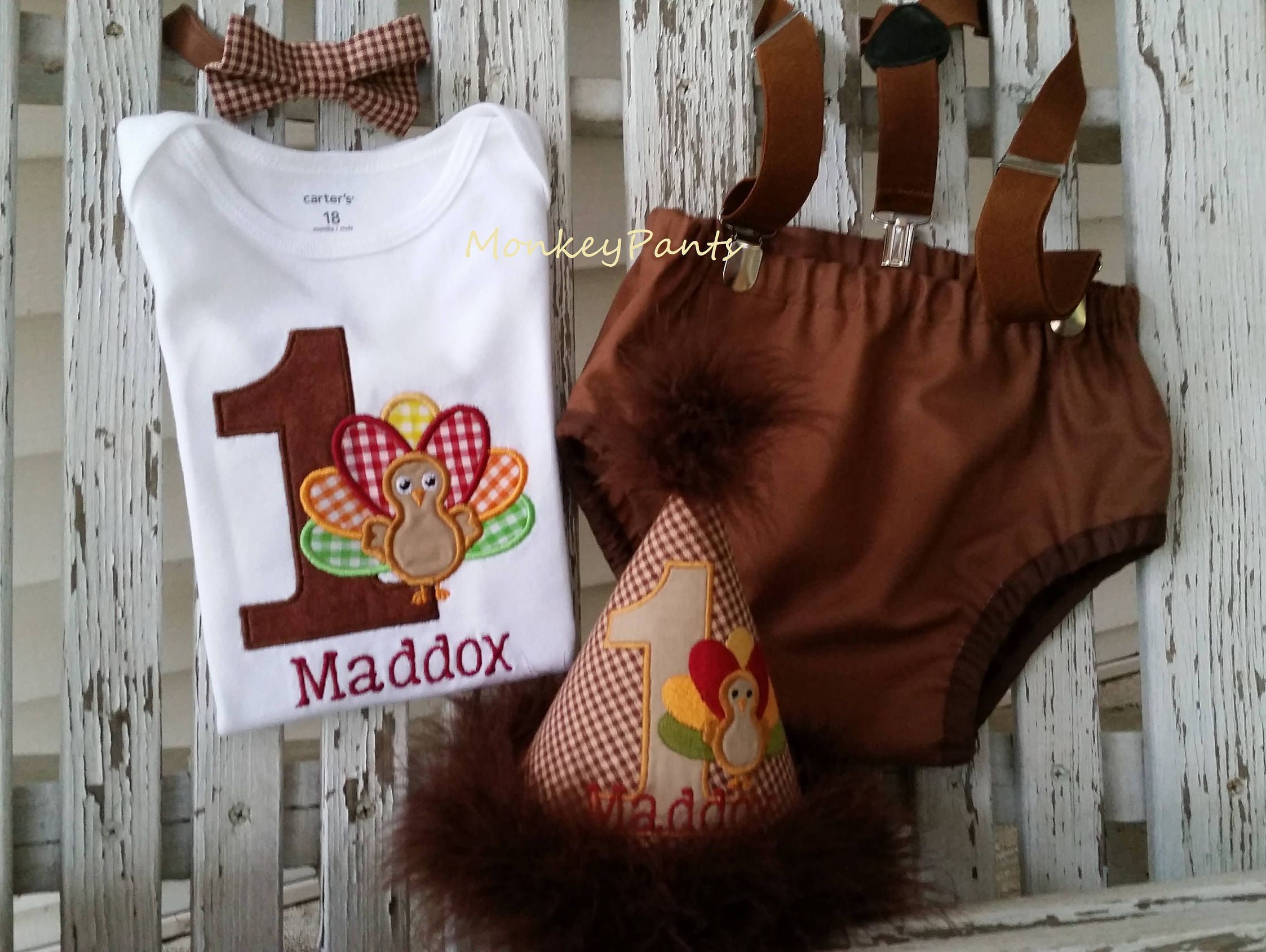 1st Birthday Boy Outfit, Boy Cake Smash Outfit, Thanksgiving Birthday, Party Hat, Turkey Bodysuit, Diaper Cover, Suspenders and Bowtie by MonkeyPantsPartyHats on Etsy
