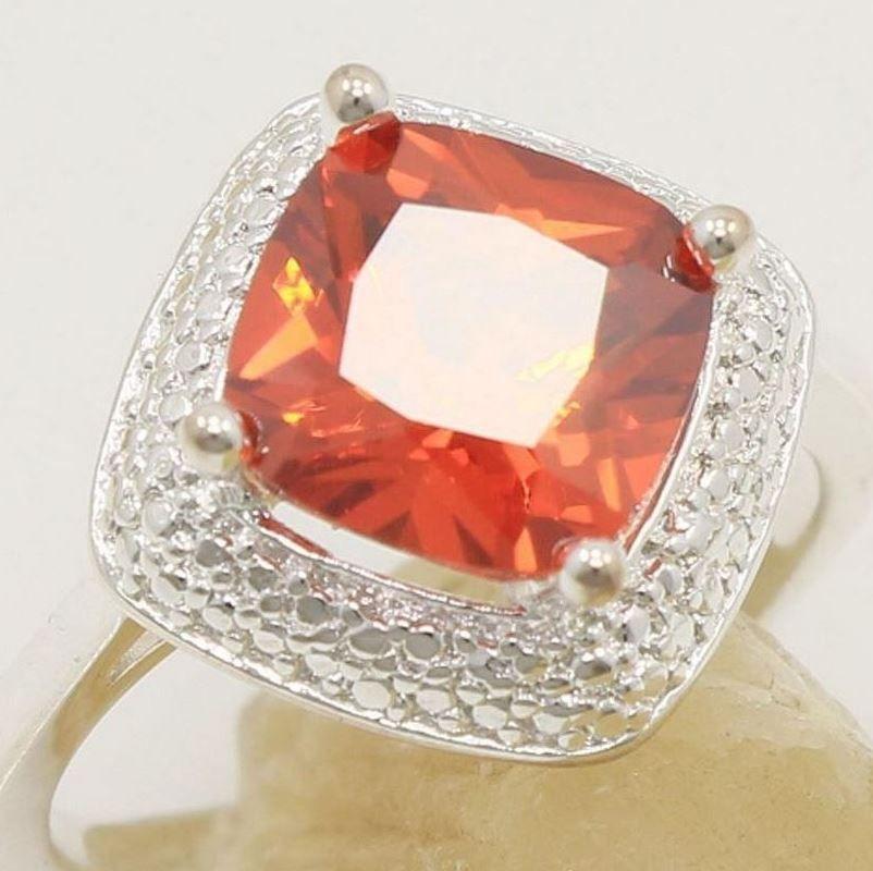 925 Sterling Silver Red Garnet 4.12 Carat Ring Size 8 Stamped 925 #Statement
