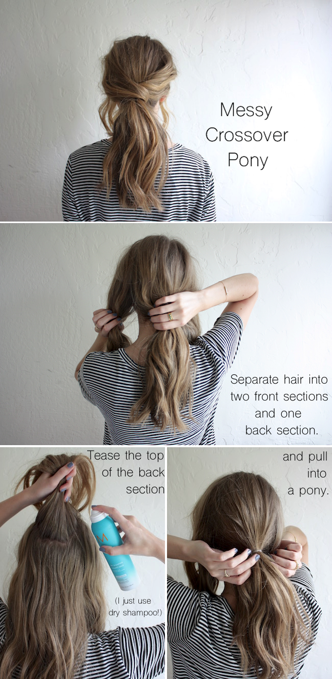 Hair tutorial messy crossover pony truelane crossover pony and