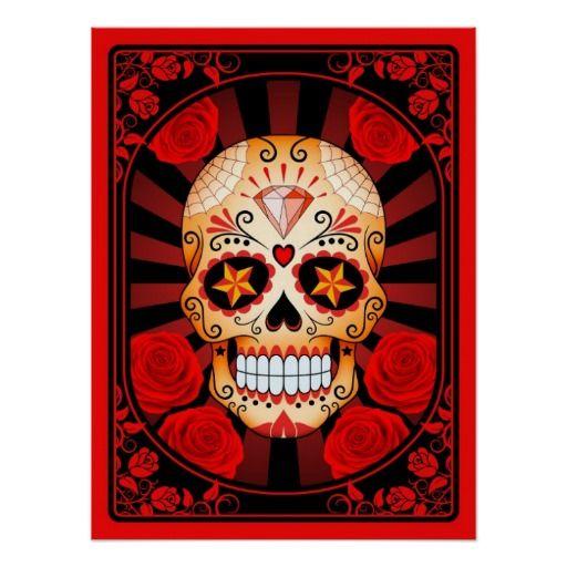 Cráneo rojo del azúcar con el poster de los rosas