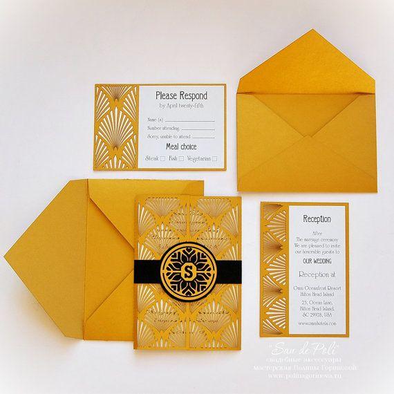 Wedding invitation, Card Set Template Retro Vintage Art Deco COVER (svg, dxf, cdr, eps) laser cutout die cut paper Digital Instant Download
