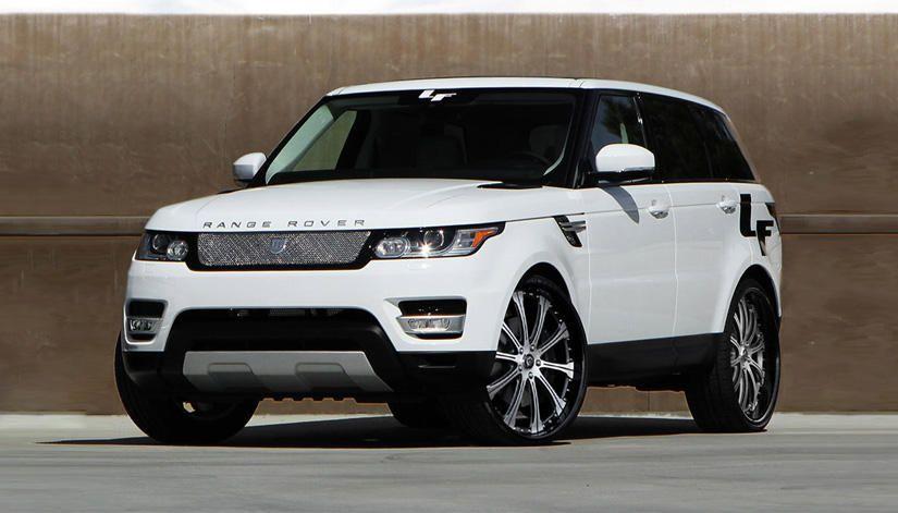 Lexani Wheels, the leader in custom luxury wheels.  The 2014 Range Rover Sport with brushed/black LF-709 rims.