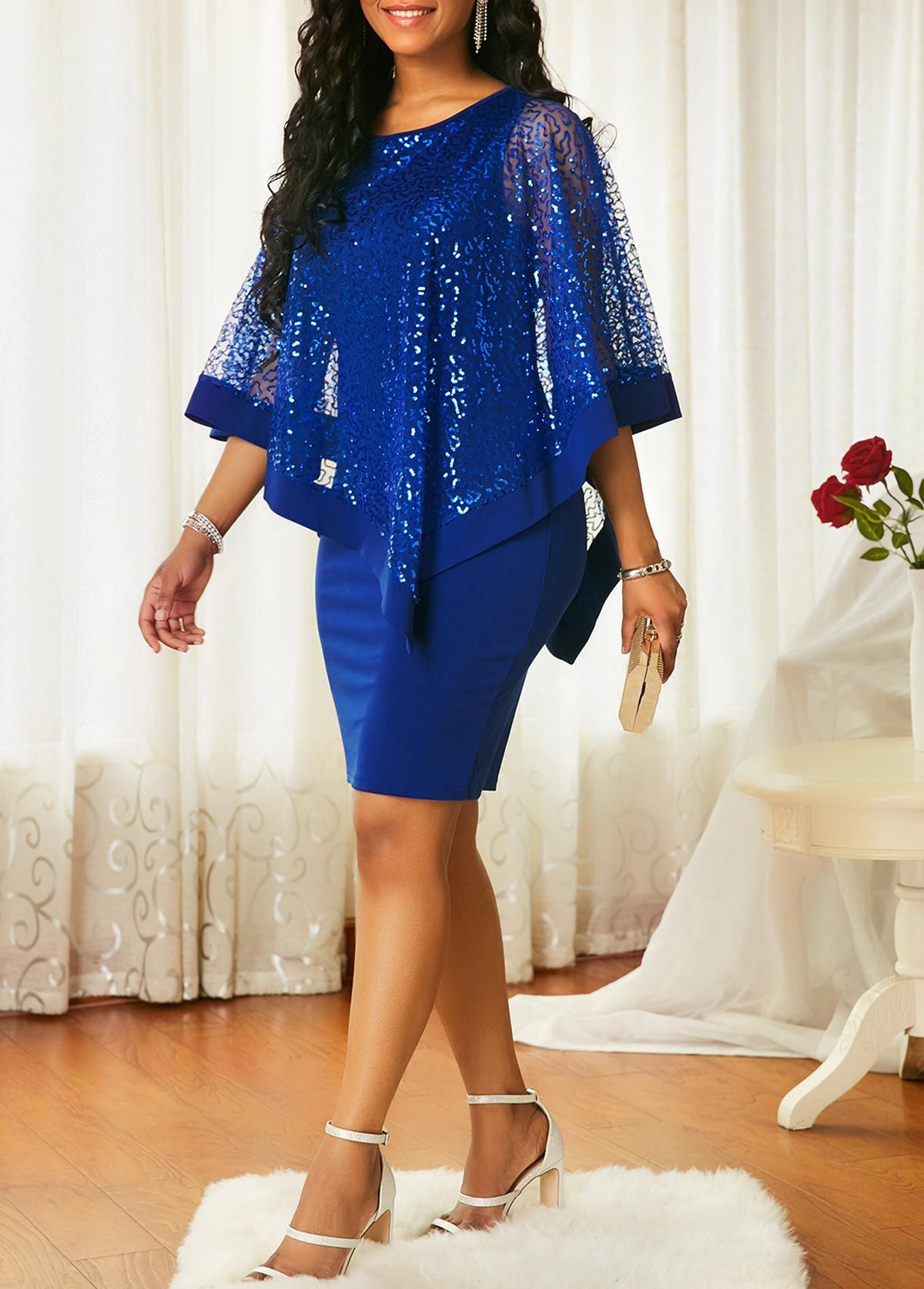 55de1478e87 Overlay Sequin Detail Blue Sheath Dress | Rotita.com - USD $35.52 ...