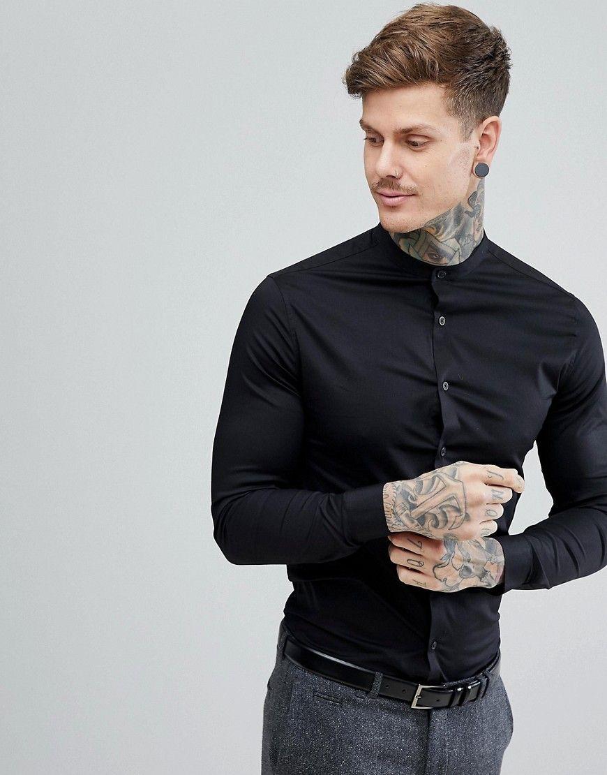 456d21165a4 ASOS Skinny Shirt In Black With Grandad Collar - Black