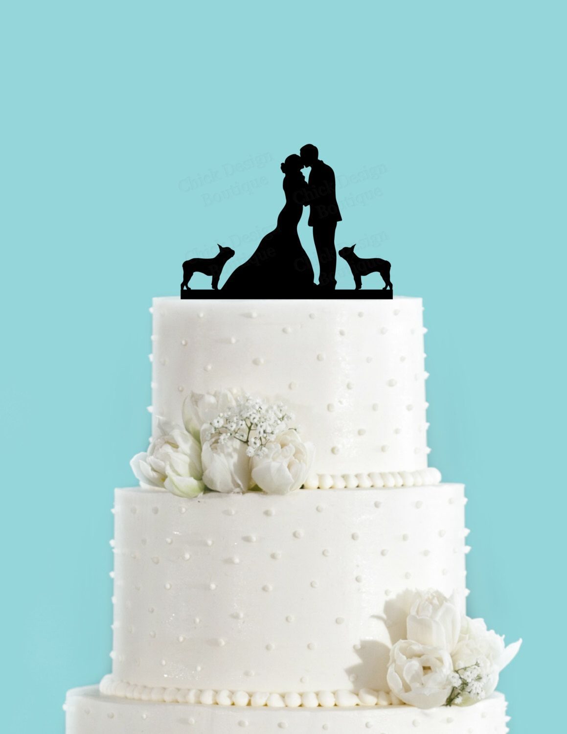 Couple Kissing with Two Boston Terriers Wedding Cake Topper ...