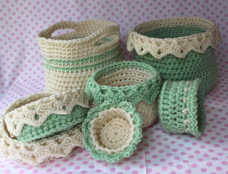 Crochet Basket Patterns 6 Sizes - Ebook - Drop Over Lace Edge ...