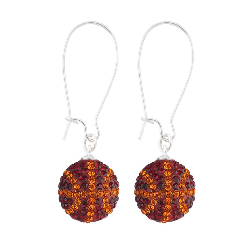 Handcrafted Ruby-Tangerine (Maroon-Orange) Basketball Earrings with Silver Wire, Item E-BB30, Price:  $35.99, © GameDay Fusion
