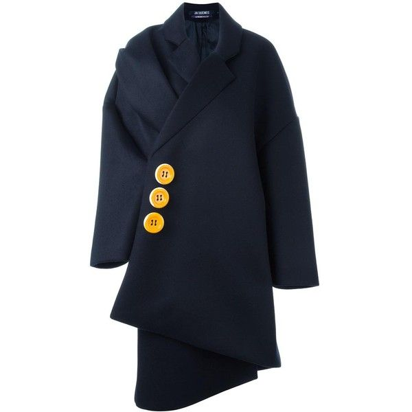 Jacquemus Blue Oversize Coat (1 156 AUD) ❤ liked on Polyvore featuring outerwear, coats, navy, oversized coat, woolen coat, navy coat, oversized wool coat and blue wool coat