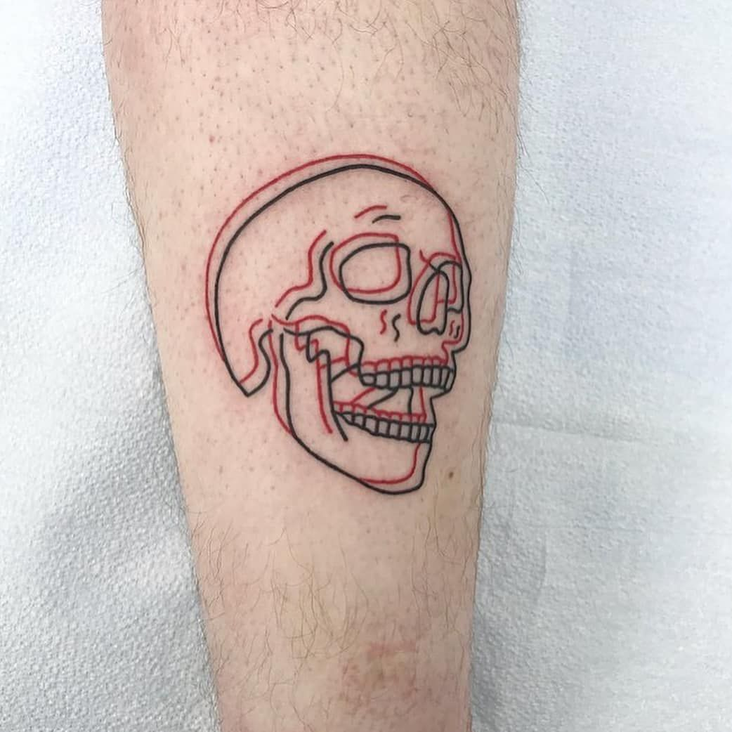 Anaglyph Black And Red Skull Tattoogrid Net Small Tattoos For Guys Cool Small Tattoos Tattoos