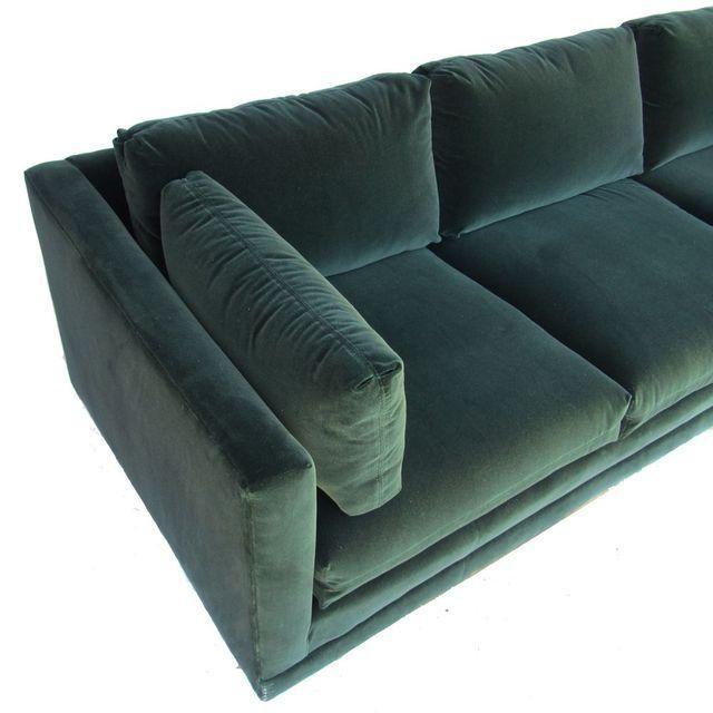 Henredon Green Velvet Tuxedo Sofa | Chairish