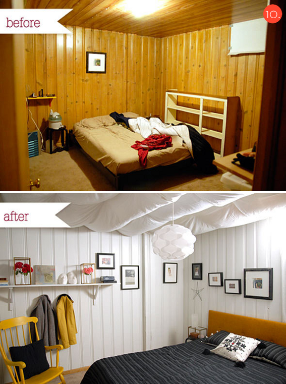 Roundup 10 inspiring budget friendly bedroom makeovers Painting paneling in basement