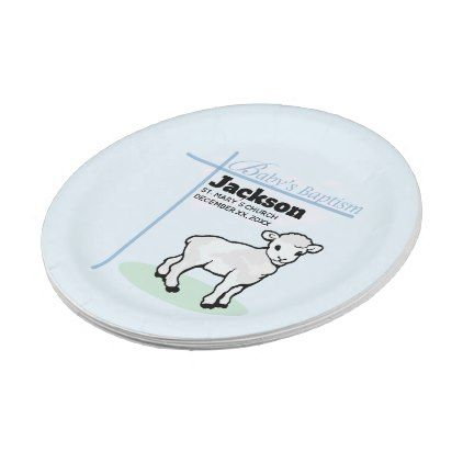 Baptism Blue Boy Lamb Customizable Paper Plate - kitchen gifts diy ideas decor special unique inidual  sc 1 st  Pinterest & Baptism Blue Boy Lamb Customizable Paper Plate | Lambs