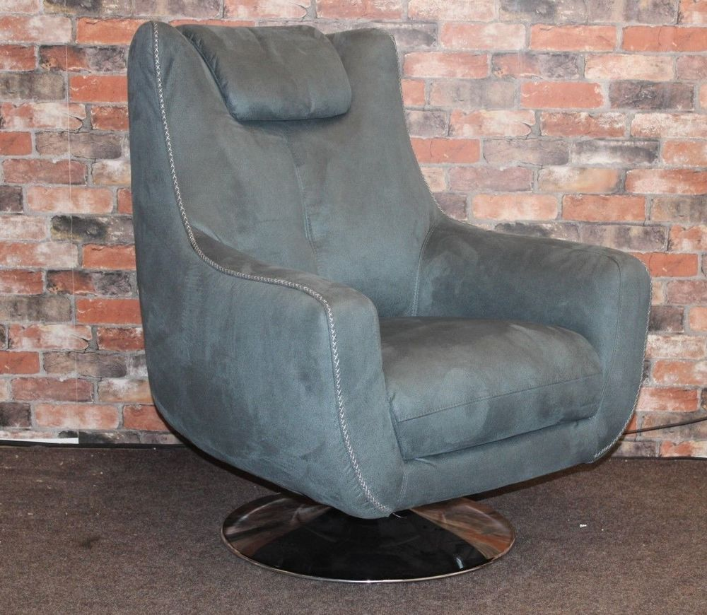 F.V. SANZA BLUE SADDLE FABRIC CONTEMPORARY SWIVEL ARMCHAIR