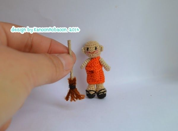 amigurumi crochet doll: miniature crochet doll - a little monk with broom