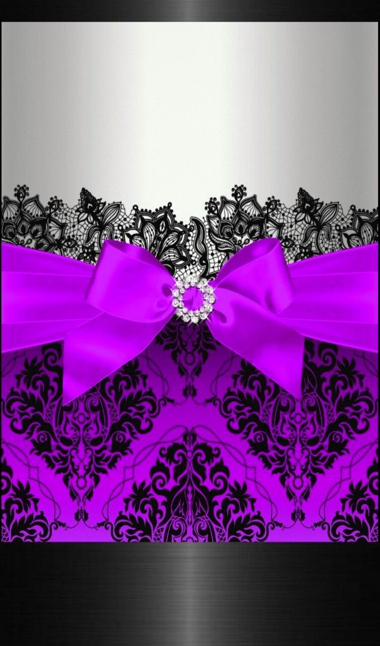 Black And Purple And Silver Sparkly Bow Backgrounds Lace