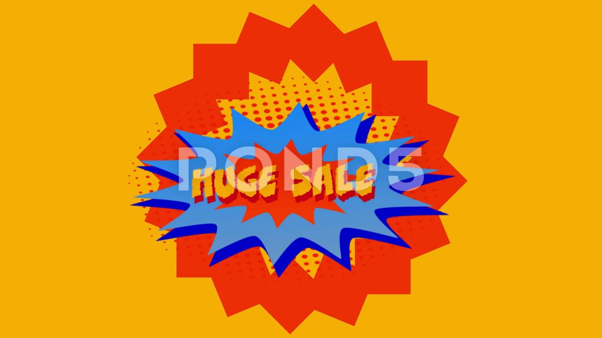 Huge Sale Graphic In Red And Blue Explosion On Yellow Background