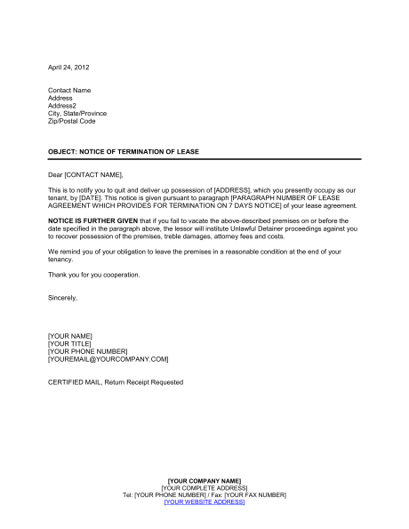 Landlord Notice Termination Lease Template Amp Sample Form Rental