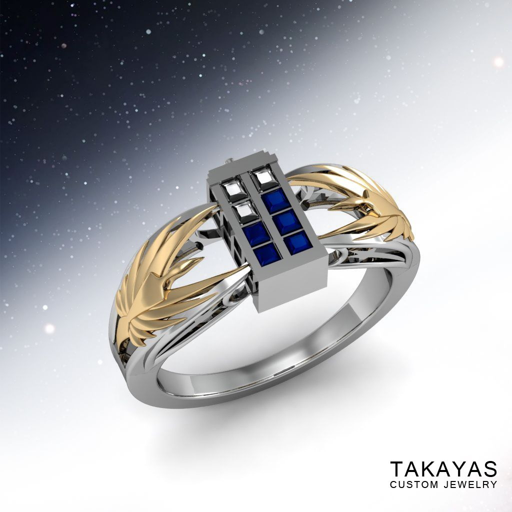 Dr Who And Battlestar Galactica Scifi Engagement Ring Takayas Custom Jewelry Geeky Jewellery Geek Jewelry Tardis Ring