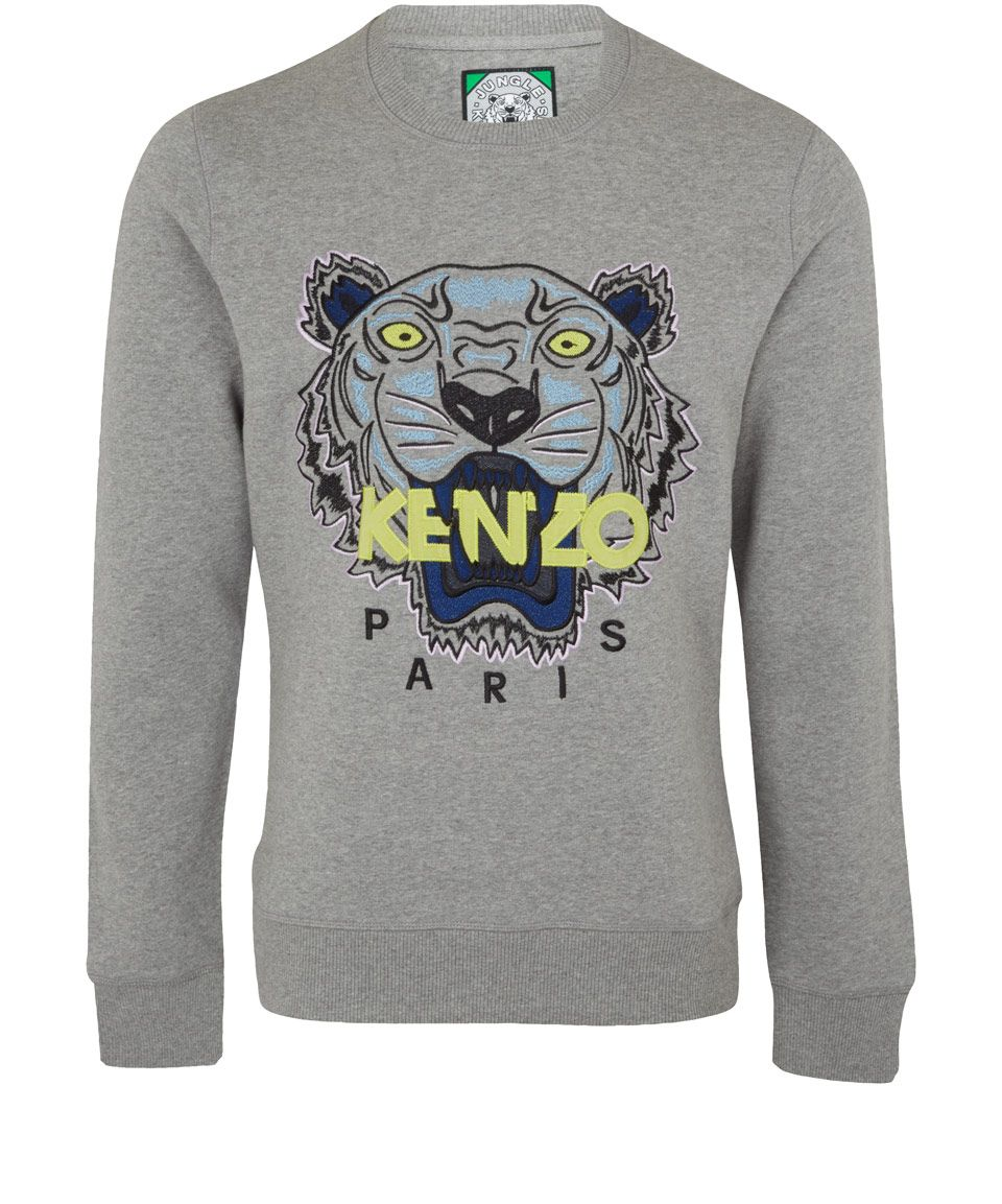Kenzo Grey Tiger Print Cotton Sweatshirt