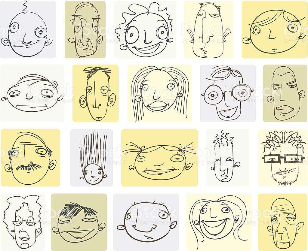 Verschiedenen Doodle Zeichnungen, die aus den Köpfen von Menschen Lizenzfreies vektor illustration