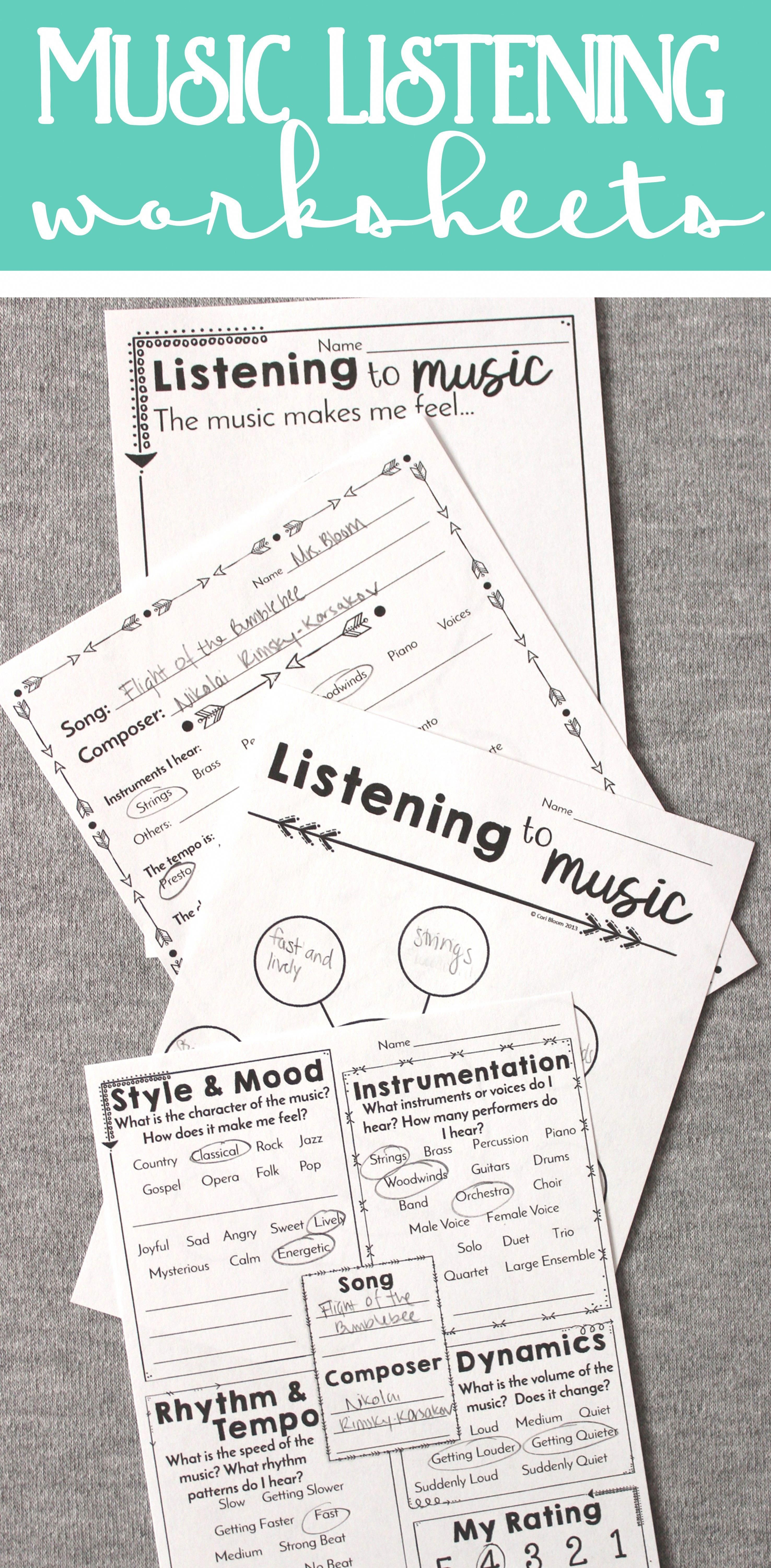 Awesome Music Listening Worksheets For All Grades