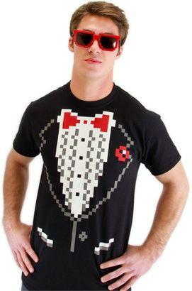 Pixel-8 Tuxedo Adult Mens Costume Shirt | redditgifts