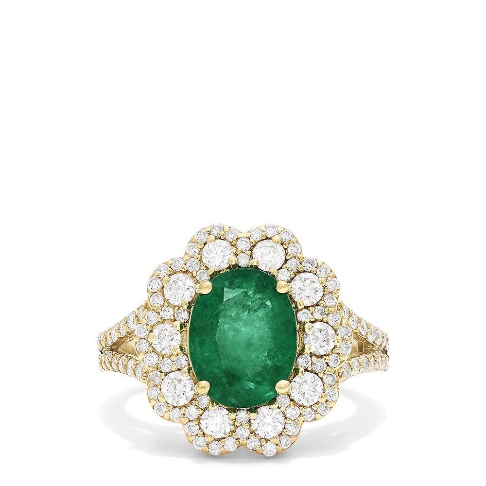 d45a66135822c Effy Brasilica 14K Yellow Gold Emerald and Diamond Ring, 3.20 TCW ...