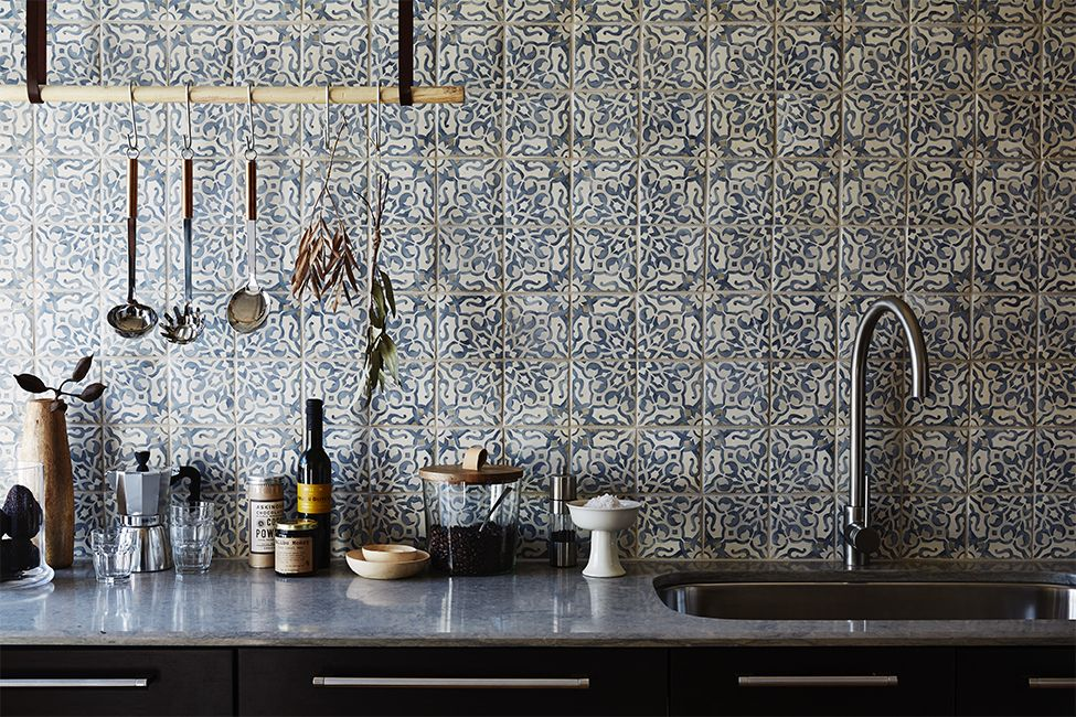 White And Grey Patterned Kitchen Tiles