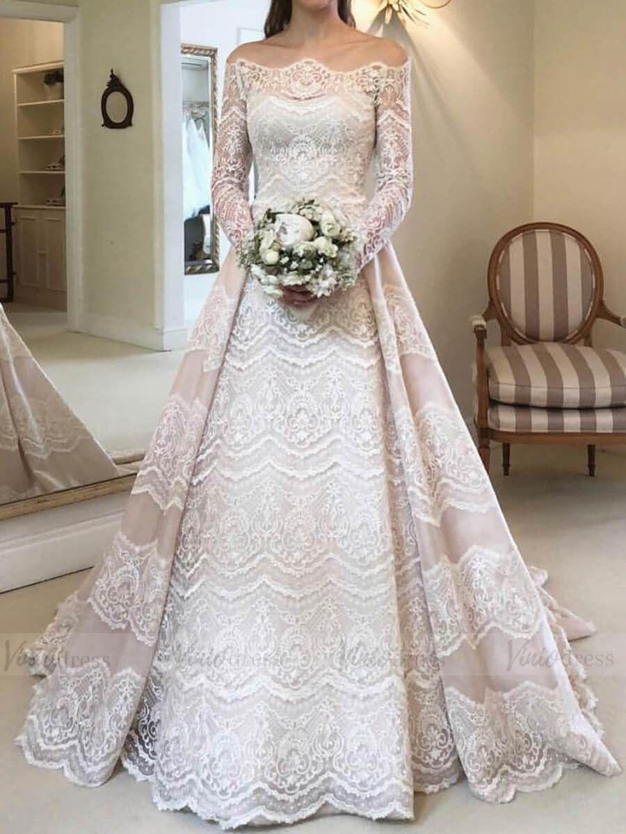 Vintage Long Sleeve Lace Wedding Dresses Off The Shoulder Vw1336 Viniodress Long Sleeve Wedding Dress Lace Wedding Dress Sleeves Wedding Dress Long Sleeve [ 1200 x 900 Pixel ]