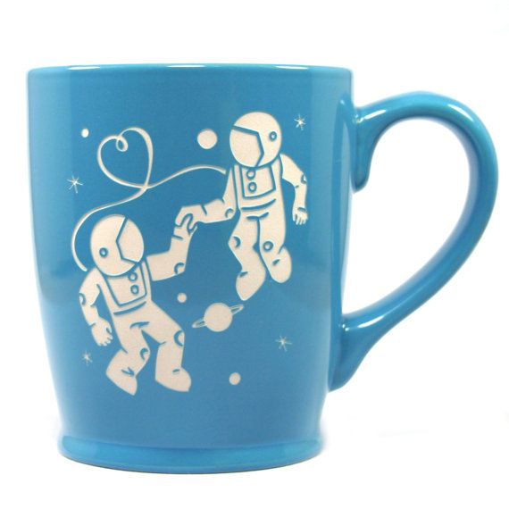 Astronaut Love Mug  Sky Blue  large ceramic by BreadandBadger