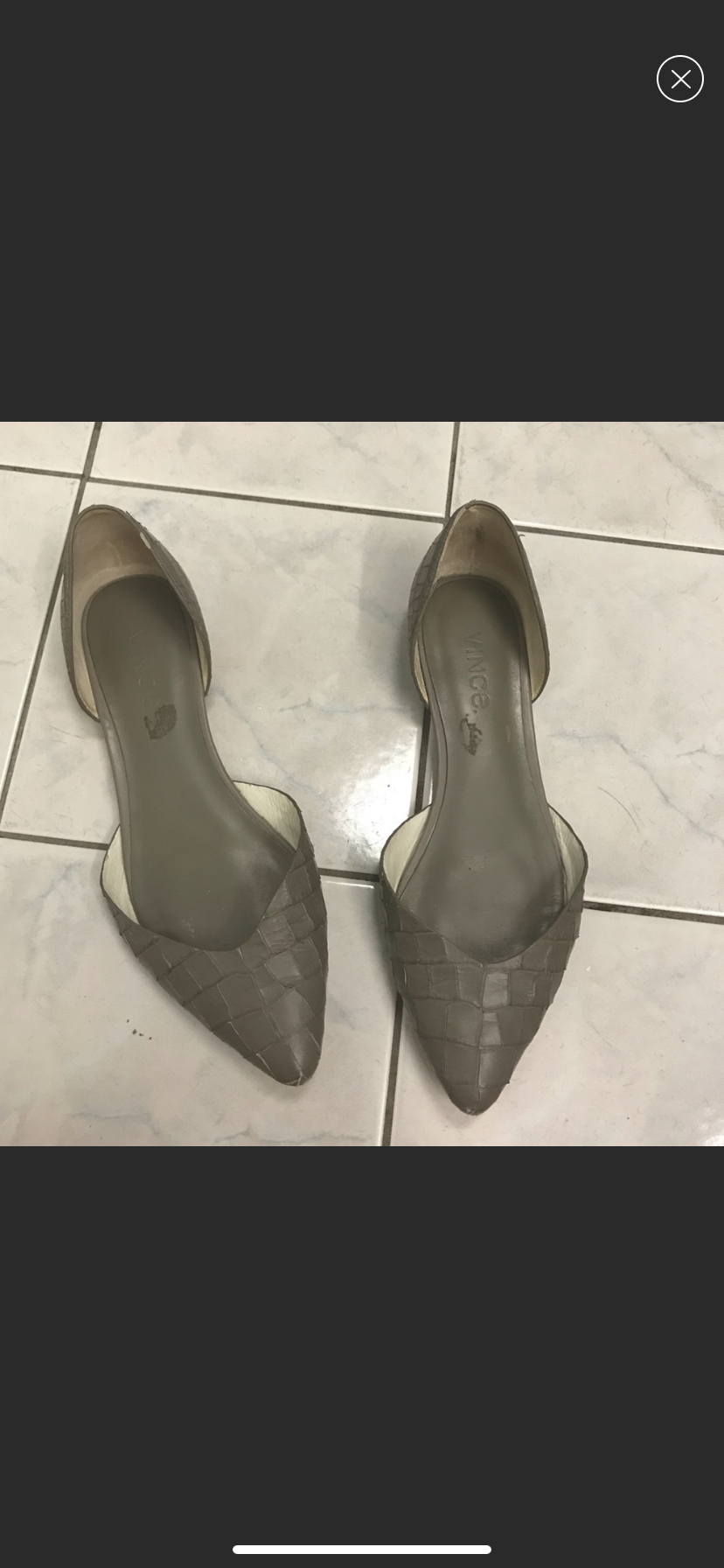 c64c29b3a734a3 Vince Tara Pointed D'Orsay Flat in Gray Croc (Poshmark) | Corporate ...
